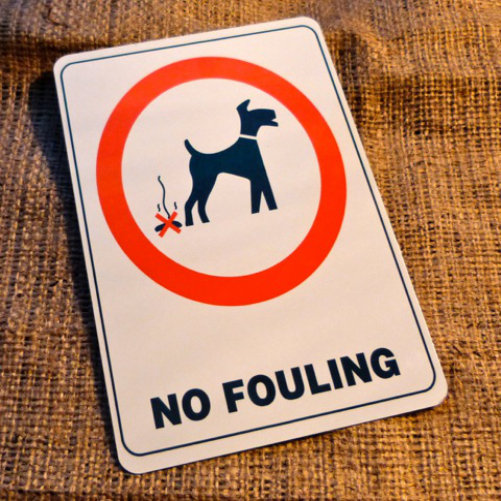 No Fouling Sign Garden Sign
