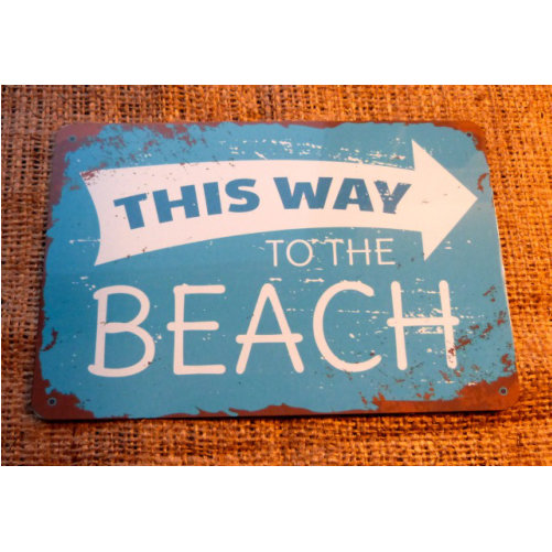 This Way To The Beach Vintage Style Sign