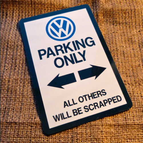 VW Parking Only Novelty Signs