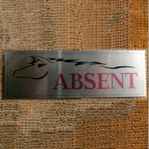Absent Aluminium Horse Sign