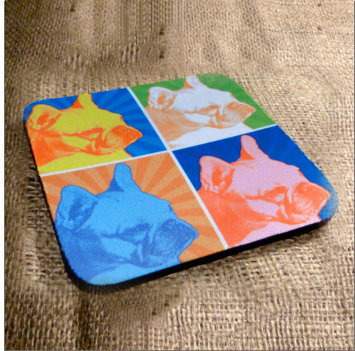 Rubber Based Fabric French Bulldog Coasters