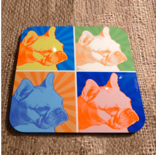 Wooden High Gloss French Bulldogs Drinks Coaster
