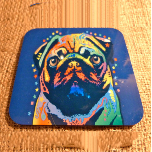 Wooden High Gloss Pug Drinks Coaster