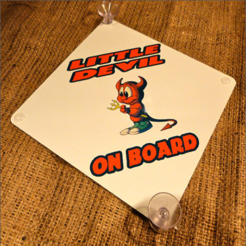 Little Devil On Board Baby Sign