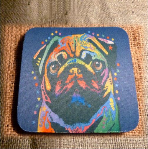 Pug Drinks Coaster