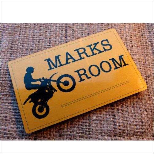 Marks Room Sign Made From Aluminium Gold Coloured Finish